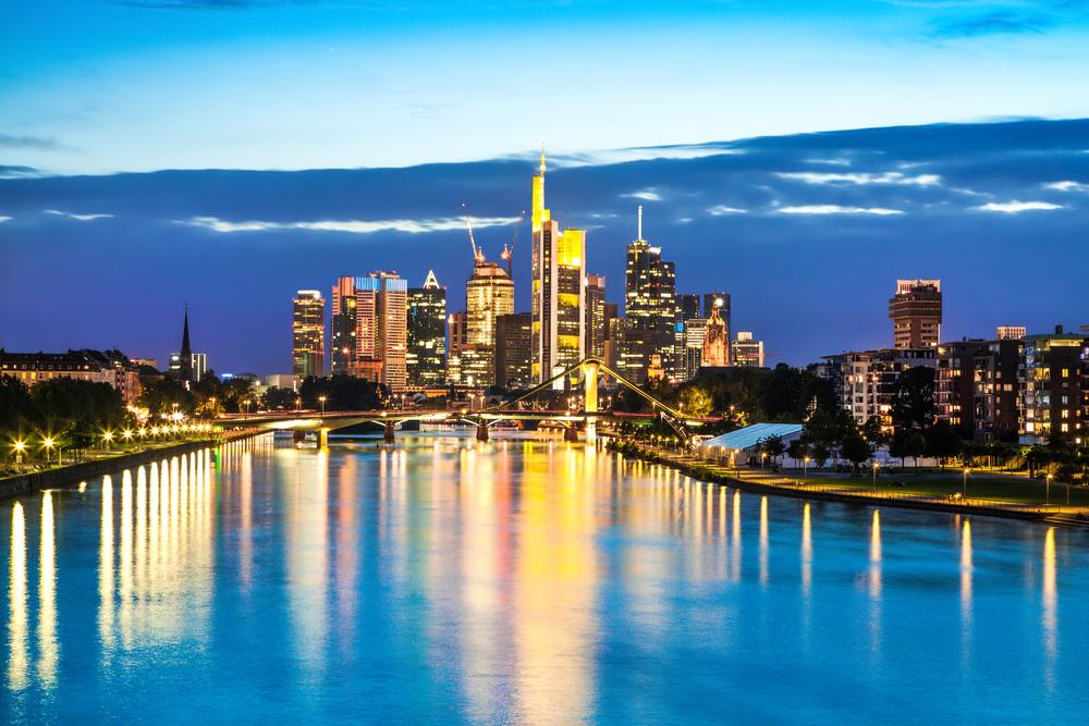 Beautiful view of Frankfurt am Main skyline at dusk, Germany.